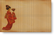 Japanese Woman on Reed Mat background