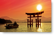 Torii Shrine Gate at Sunset background